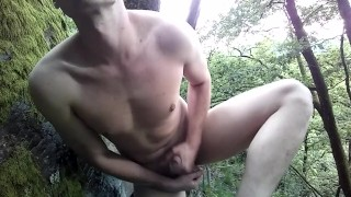 18yo twink caught cumming outdoor in the forest