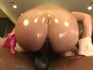 Big oiled ass gets oil anal cock...