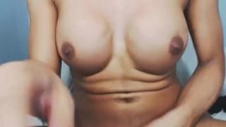 Busty Shemale Masturbates and Cum Solo porno