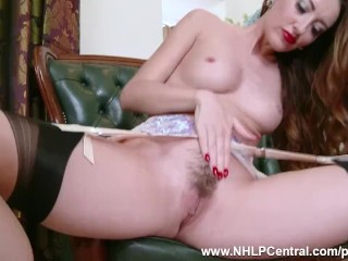 Brunette strips to nylons heels her trimmed pussy framed for wanking over