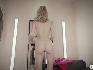 Hottie Nancy Ace fingers her pussy in a lingerie fitting room