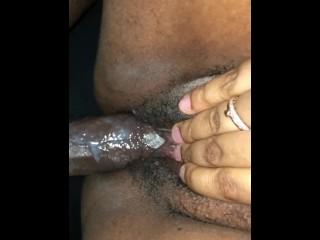 Cums on black dick...