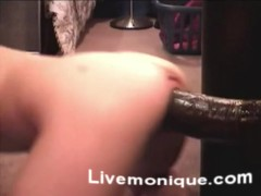 Huge dildo in sexy blonde ass