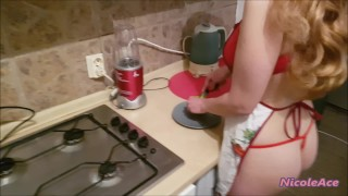 Sexy blonde cooking and waiting for her horny man from work