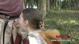 Kinky Viking slut Nadine Cays blows old guy with facial insemination