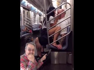 Girl rides guy on train in public