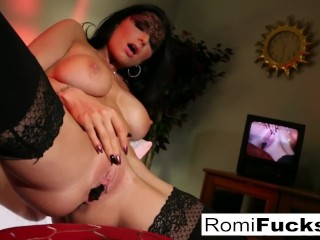 Romi stuffs her pussy full of panties then licks them clean