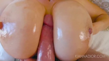 Kiana Dior Oils Up Her Huge Tits & Swallows Cum