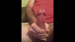 Very big hard cock cumming up close