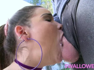 SWALLOWED Eden Sin gives us a deepthroat lesson