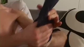 Handsome stud playing with his feet and slowly jerking off Wives nextdoor