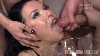 Mouthful bukkake avluv swallows veronica premium cumshots huge shot boobs