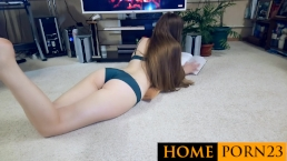 Hot sex on the floor with an end in the inside