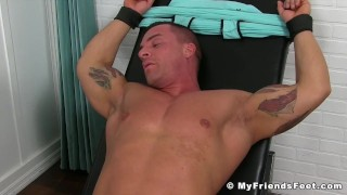 Older perv tormenting tattooed hunk by tickling him all over body porno