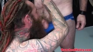 Mature inked biker bear barebacked in trio Socks anal