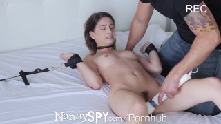 NannySpy Babysitter Kristen Scott caught by pool masturbating Mff blowjob