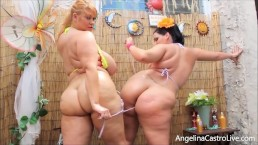 BBWs Angelina Castro & Sam 38G Show Off Huge Boobs & Butts!