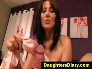 Zoey Holloway - Stepmom's Tease and Denial Satin Handjob