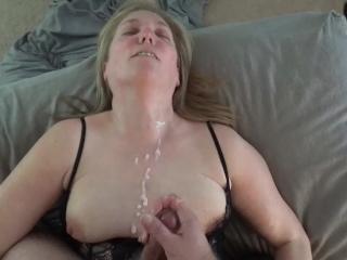 Amateur MILF POV cumshot (listen to her sloppy wet pussy)