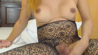 With plays tight her butthole tranny busty shemale jerking