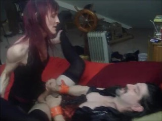 Sultry Goddess Dominates Sissy Husband with Strapon