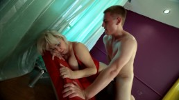 The stepson dominates his mother