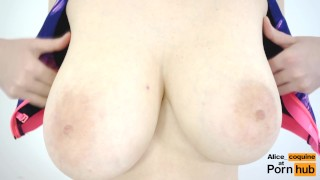 Epic Slow Motion Jumping Jacks F Cup Tits Covered with Cum Orgasm british