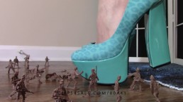 Crush fetish: Giantess Goddess Lucy crushes army men with heels | lucywants