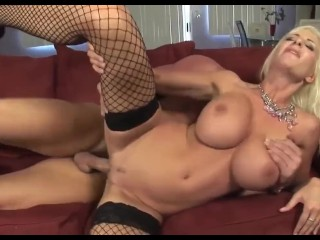 Hot Sweden Milf in Fishnet with Big Tits Fucks Guy