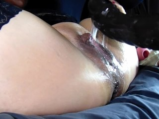 mind blowing spraying squirting pussy with mr hankey's bfg huge dildo