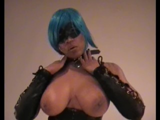 Raven swallowz blue haired cosplay porn star teasing...