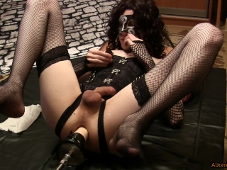 The white hand fisting in the ass, sissy in the corset