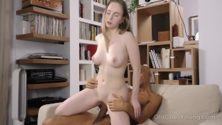 Old Goes Young - Sweet babe takes a huge load of cum on her tits porno