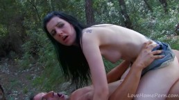 Petite Babe Gets Jumped In The Forest