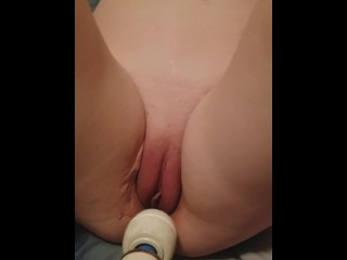 Husband having fun playing with my pussy using a toy.