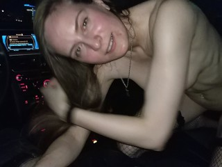 Sexy babe gives head in Audi at night Part I