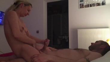 Wife jerking me off while playing with pussy , cowgirl ride with moaning