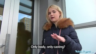Public Agent Hot blondes gets a mouthful of cum after fucking for cash Gaping facial