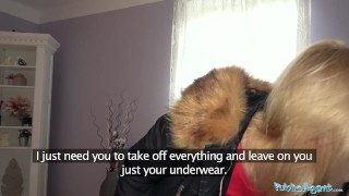 Public Agent Hot blondes gets a mouthful of cum after fucking for cash Jean petite