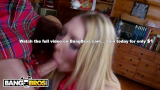 Preview 6 of BANGBROS - Busty Blonde Lexi Lowe Runs Into The Big Bad Wolf In The Woods!