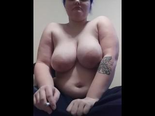 Sexy BBW milf shirtless smoking