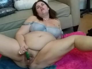 Horny BBW Toys Pussy with Unicorn Lollipop