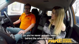Fake Driving School Petite learner with small tits eats instructors cum A2m 3some