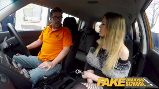 Fake Driving School Petite learner with small tits eats instructors cum Cum asian