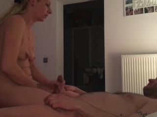 Wife jerking me off while playing with pussy, cowgirl ride with moaning )