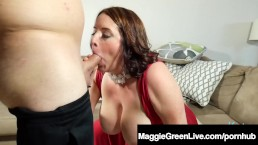 Busty Maggie Green Blows A Cock & Fucks With A Load On Face!