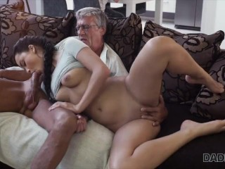 DADDY4K. Dad fucks your girlfriend while you're playing