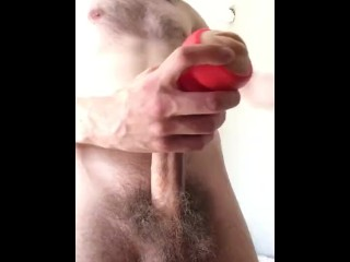 Hairy twink fucks toy