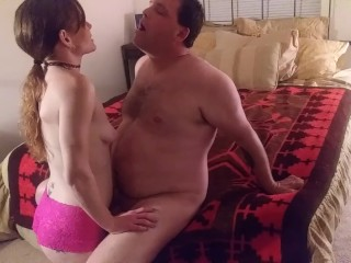 Femdom Destiny Reed Deepthroats Sub And Spits a Huge Load In His Face