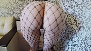 Hungry for cock fuck with big ass babe in fishnets Facial cowgirl